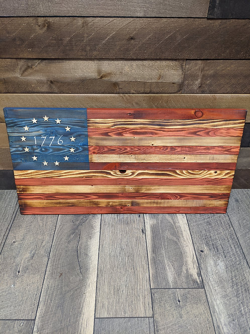 "Wood American Flag ""1776"" | Medium Size"