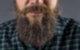 Closeup of a man beard and mustache over