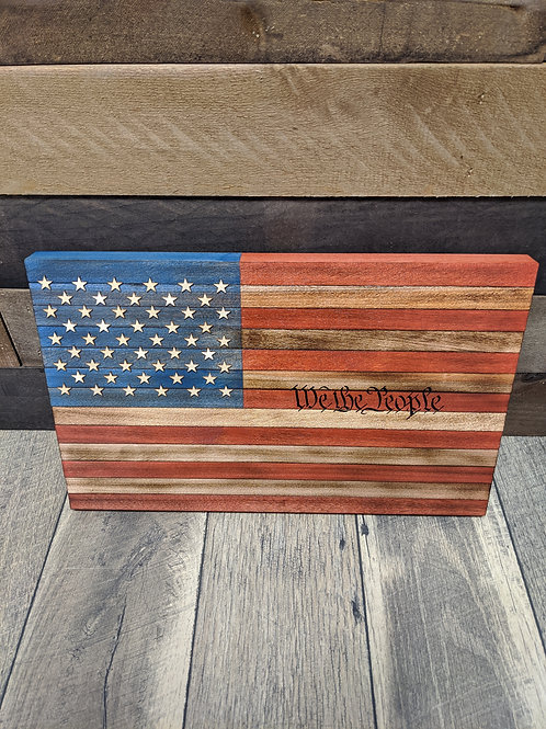 """Wood American Flag """"We the People"""" 
