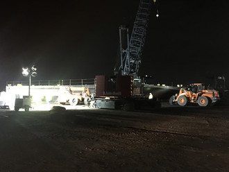 Yard crew launches 60'x120' JMC120 barge after hauling it out for refurbishment including structural