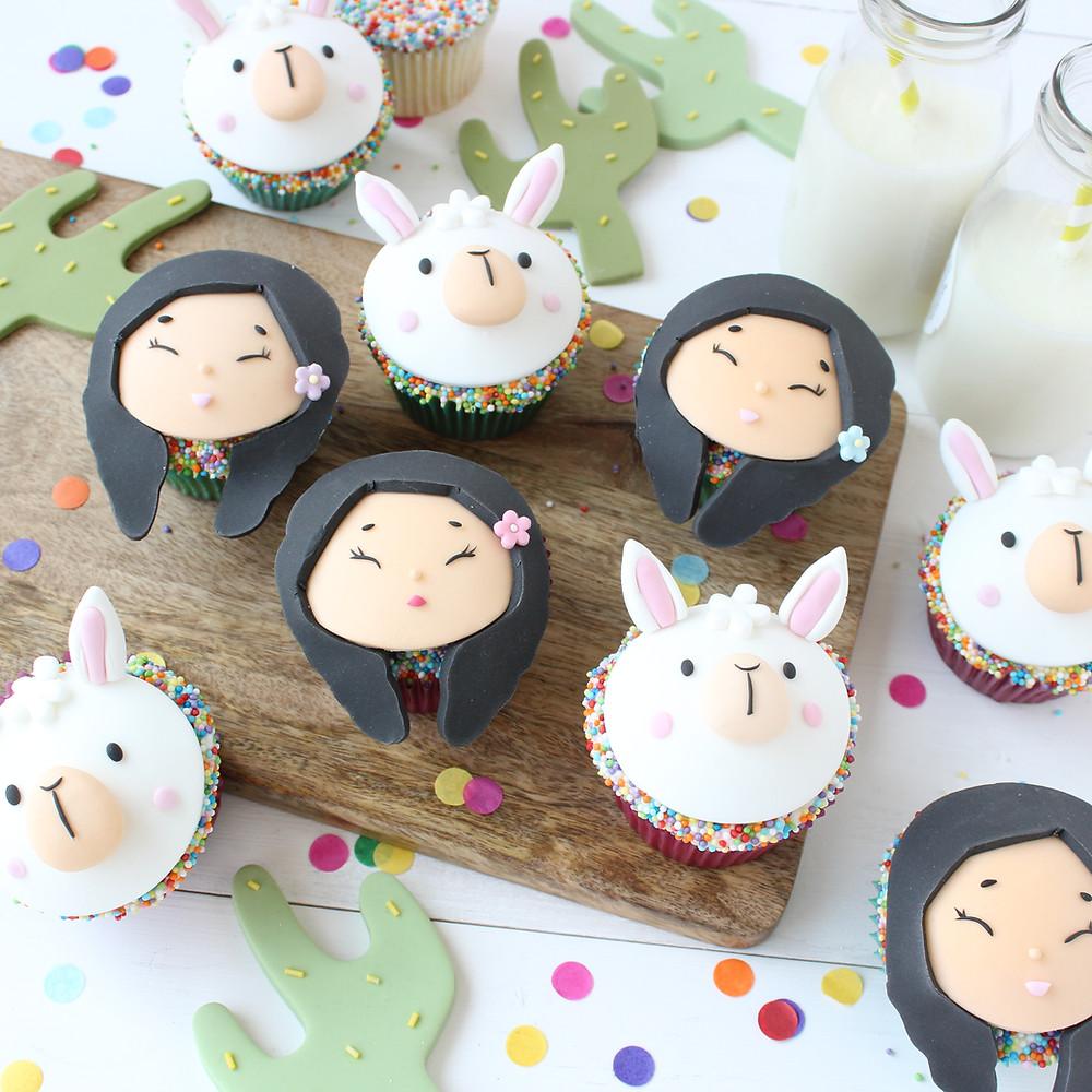 Alpaca & Girl Cupcakes