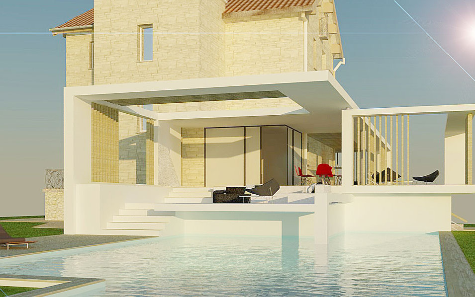 REHABILITATION / EXTENSION / HAUSELMANN ARCHITECTURE / ARCHITECTE ROYAN / BATI ANCIEN / CONTEMPORAIN / TERRASSE / PISCINE
