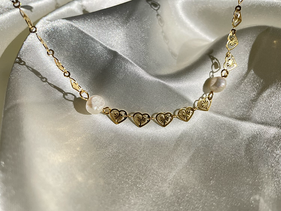 Hearted Pearl Necklace