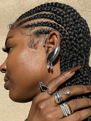 Silver Armor Ear Cuff