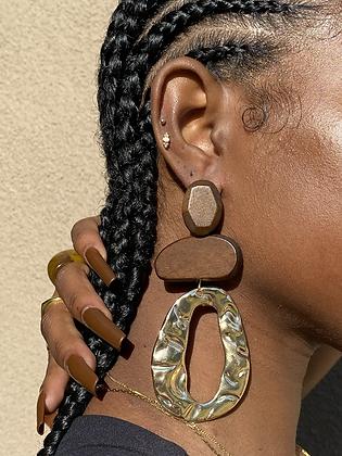 Irregular Wood Earring