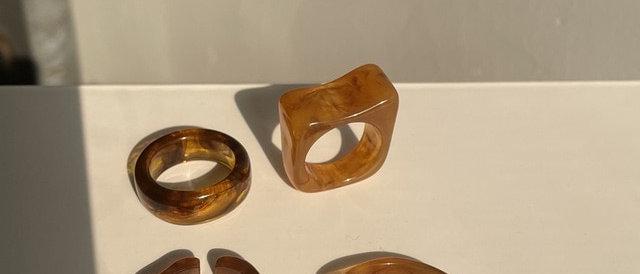 Irregular Ring Set -Brown