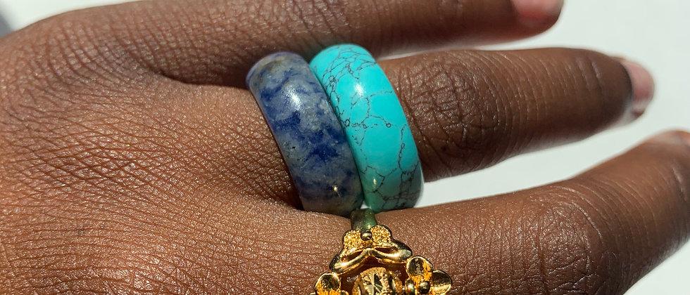 Large Natural Stone Rings (sz 7.5)