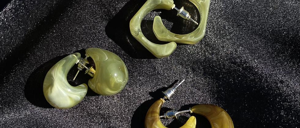 Irregular Earring Set -Green