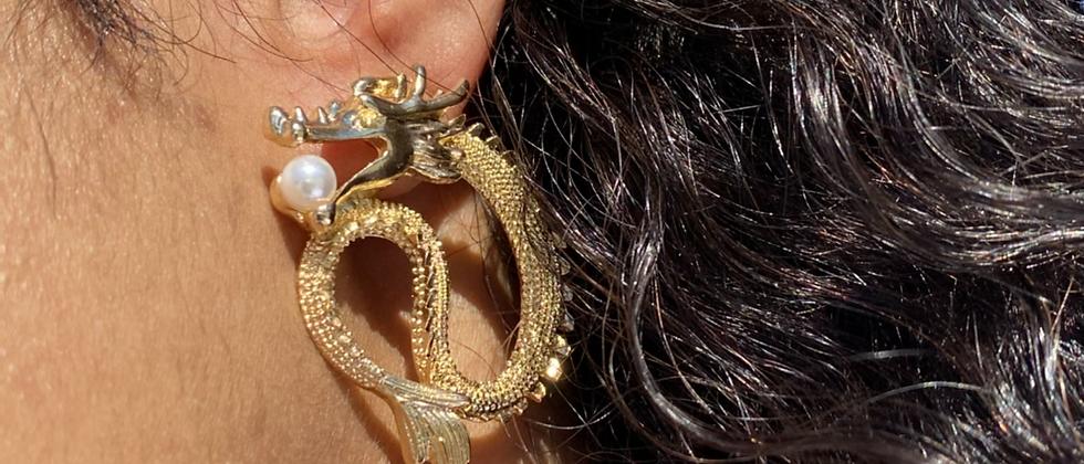 Biting Dragon Earring