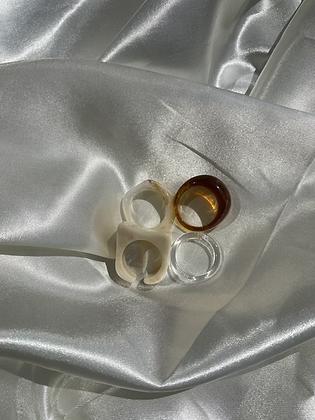 Cream Irregular Ring Set