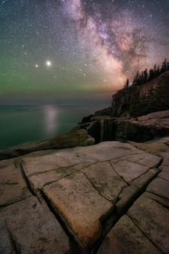 Milky Way and Jupiter Over Otter Cliffs 1