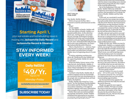 Local Jax publication Realty Builder      ceases publication as a stand-alone