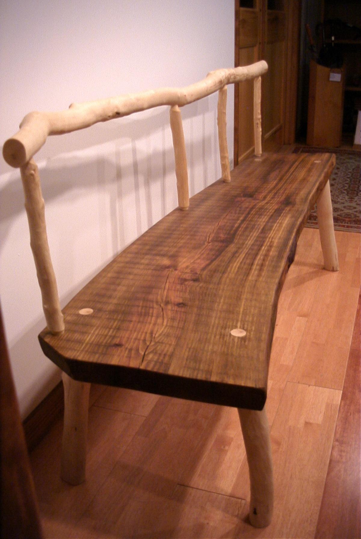 自然木材ベンチ