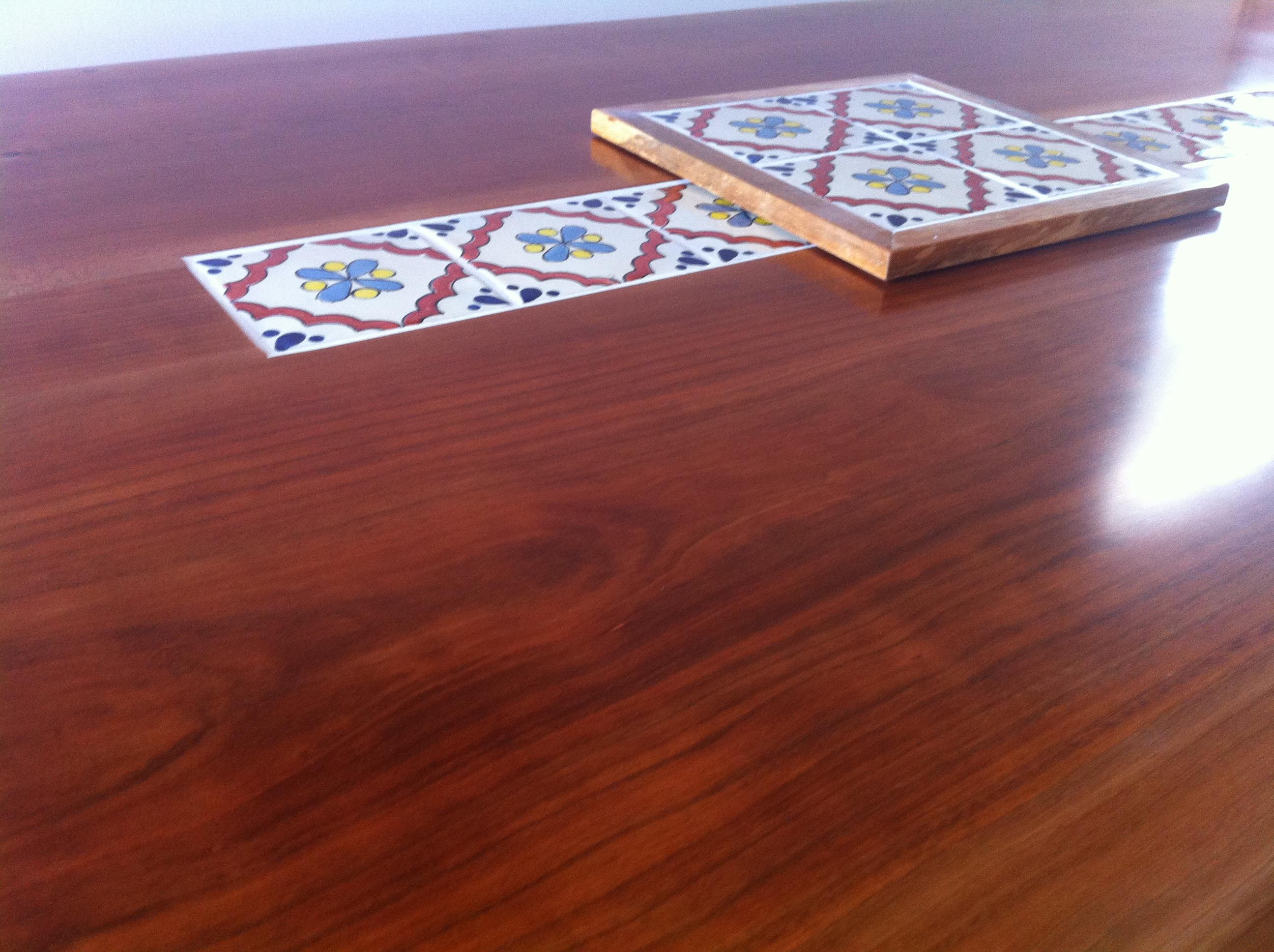 桜テーブル天板タイル