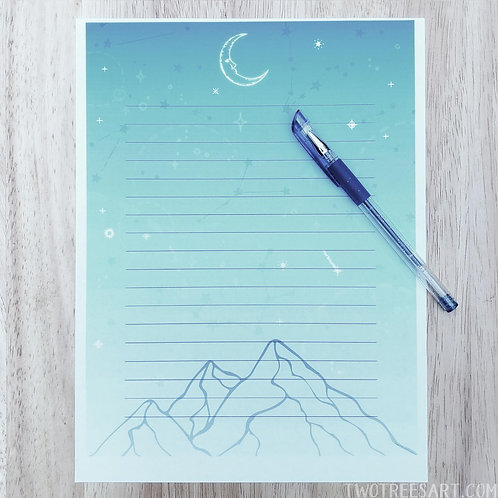 Printable Stationary, Moon Mountain, 8.5 X 11 inches
