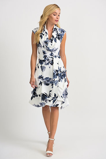 Joseph Ribkoff Vanilla/Grey Dress