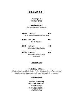 Kramsach Stundenplan 2020-21 UPDATE SEPT