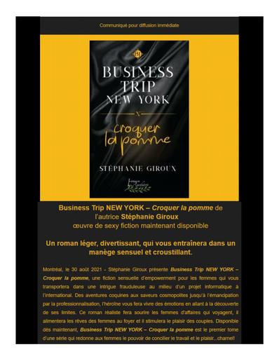 Business Trip NEW YORK – Croquer la pomme de l'autrice Stéphanie Giroux œuvre de sexy fiction