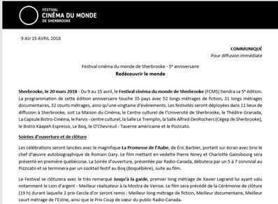 La programmation du Festival cinéma du monde de Sherbrooke est lancée