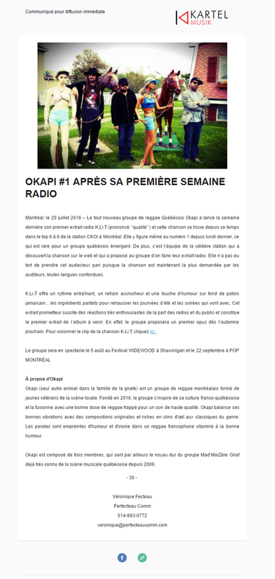 Okapi #1 après sa première semaine radio