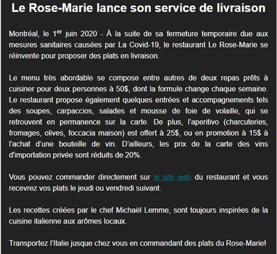 Les Rose-Marie lance son service de livraison