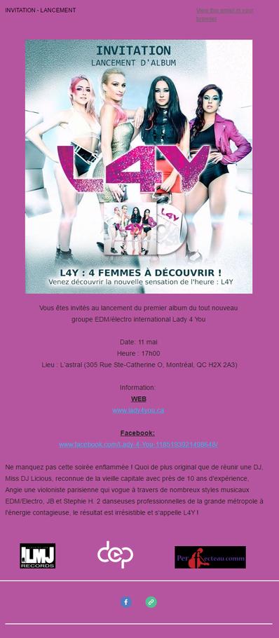 Vous êtes tous invités au lancement de L4Y!