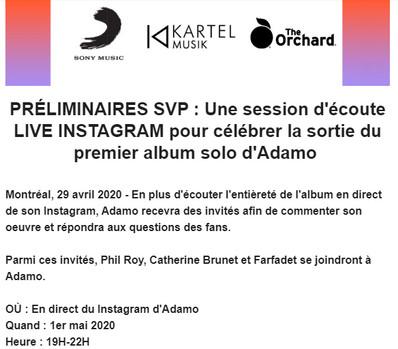 Session d'écoute live Instagram pour Adamo