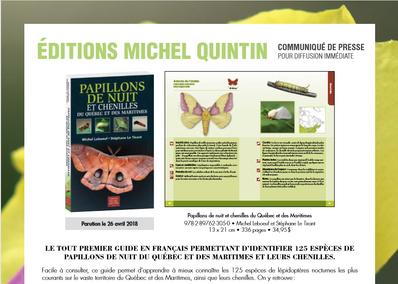 Le Guide des Papillons de nuit et chenilles du Québec et des Maritimes sera bientôt disponible