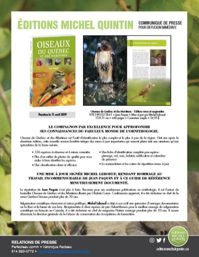 Oiseaux du Québec et des maritimes, un excellent compagnon pour approfondir vos connaissances de l&#