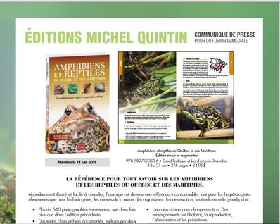 Le guide des amphibiens et reptiles du Québec et des Maritimes bientôt disponible