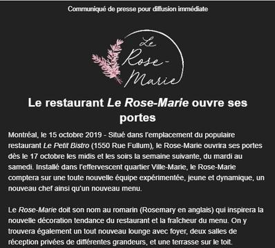 Le restaurant Le Rose-Marie ouvre ses portes