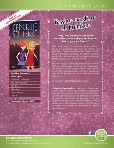 Cendrine Senterre - Sabotages 3 sera disponible dans une semaine!