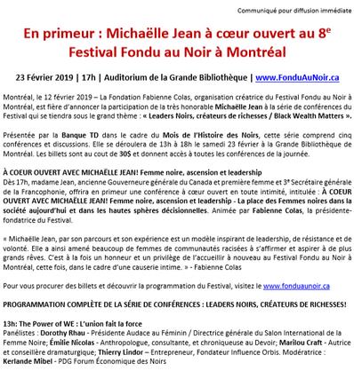 En primeur: Michaëlle Jean à coeur ouvert au 8e festival Fondu au Noir à Montréal
