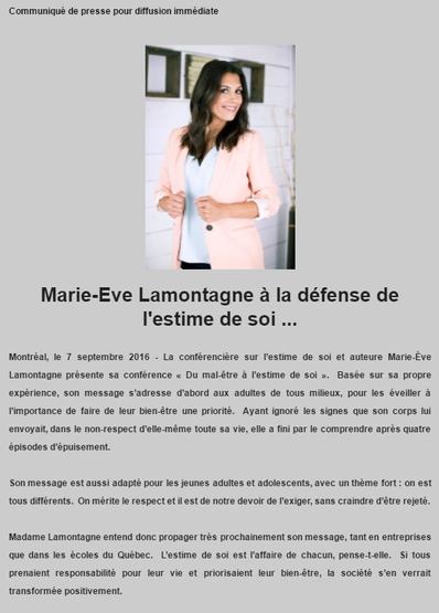 Marie-Ève Lamontagne, à la défense de l'estime de soi