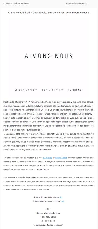Ariane Moffatt, Karim Ouellet et La Bronze s'allient pour la bonne cause