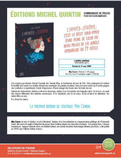 L'Après-Jérôme, premier roman de l'autrice Mia Caron