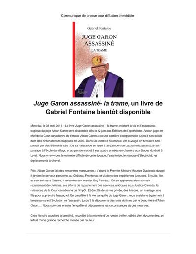 Le livre Juge Garon assassiné bientôt disponible