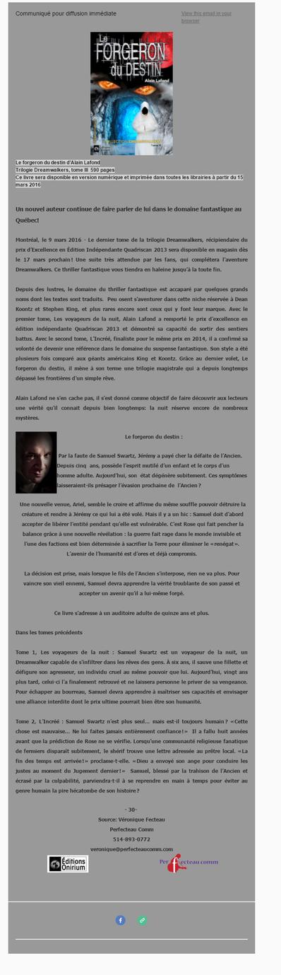 Alain Lafond lance le dernier tome de sa trilogie Dreamwalkers!
