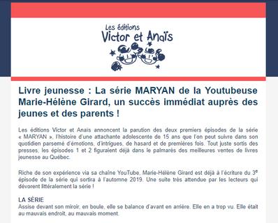 La série Maryan, un succès immédiat auprès de jeunes et des parents