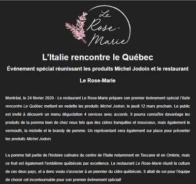 L'Italie rencontre le Québec: événement spécial au Rose-Marie