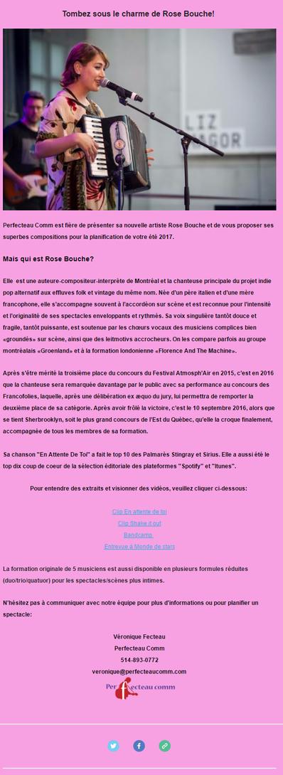 Voici Rose Bouche, nouvelle artiste de Perfecteau Comm pour l'agence de spectacles!