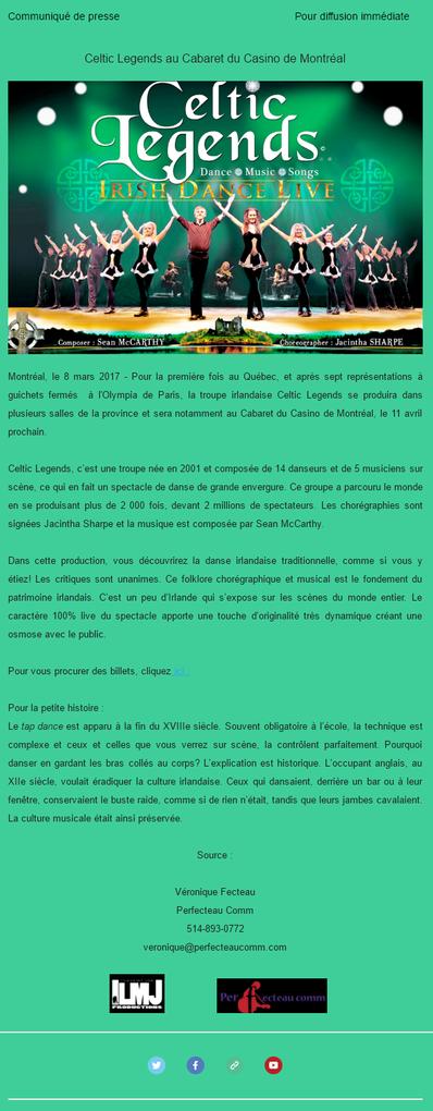 Pour la première fois à Montréal, Celtic Legends au Casino de Montréal!
