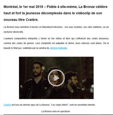 Le videoclip Cratère de La Bronze est maintenant disponible