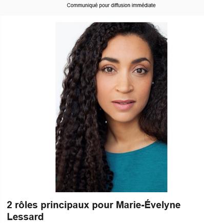 2 rôles principaux pour Marie-Evelyne Lessard