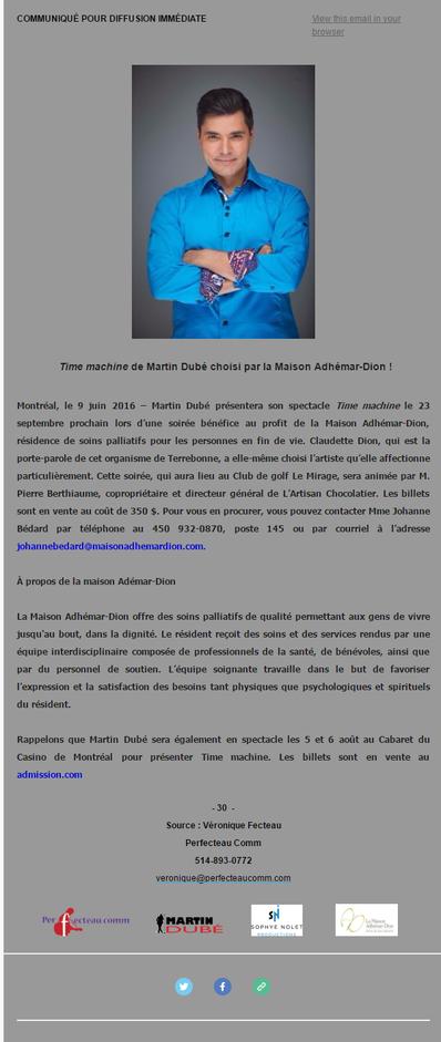 Martin Dubé choisi par la Maison Adhémar-Dion