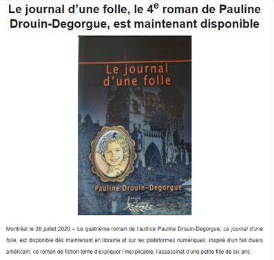 Le journal d'une folle, le 4e roman de Pauline Drouin-Degorgue, est maintenant disponible