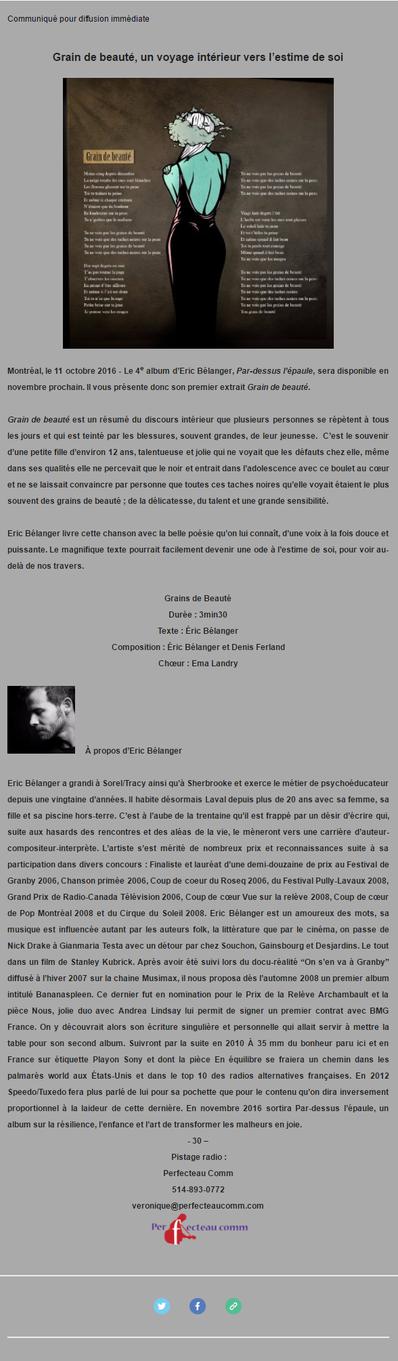 Eric Bélanger lance le premier extrait de son 4e album