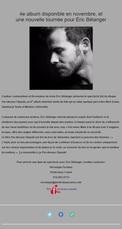 Éric Bélanger, une nouvelle tournée pour son nouvel album
