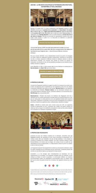 ARCHES : LA RÉUNION ACOUSTIQUE DU PATRIMOINE ARCHITECTURAL DE MONTRÉAL ET DE LA MUSIQUE