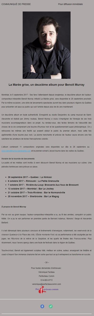 Tournée de lancements pour le 2e album de Benoit Murray!